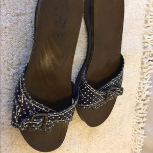 Dr Scholls plastic clogs sandals size 8 navy dots